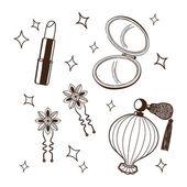 Women's accessories set. — Stock Vector