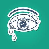 Weinenden auge mit tränen. — Stockvektor