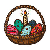 Easter basket with candle and eggs. — Stock Vector