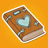 Book with decorative heart. — Stock Vector