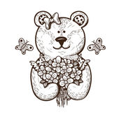 Teddy bear with flowers. — Stock Vector