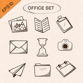 Office stationery symbols set. — Stock Vector