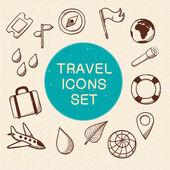 Travel and vacation symbols set. — Stock Vector