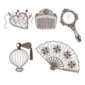 Ladys vintage beauty accessories collection. — Wektor stockowy