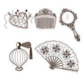 Colección de accesorios de belleza vintage ladys. — Vector de stock
