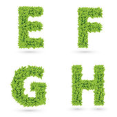 Letters of green leaves collection. — Stock Vector