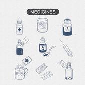 Geneesmiddelen drugs collectie. — Stockvector