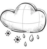 Cloud with snowflakes and rain drops weather icon — Stock Vector