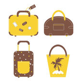 Travel luggage bags and cases collection. — Stockvektor