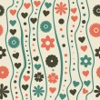 Stock Vector: Seamless pattern with retro funky doodle flowers