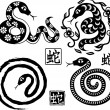 Set of Chinese styled snakes as symbol of year — Stock Vector