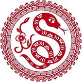 Chinese paper cut snake as symbol of year — Stok Vektör