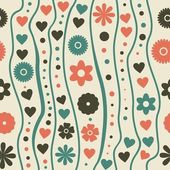 Seamless pattern with retro funky doodle flowers — Stok Vektör