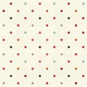 Colorful polka dot seamless pattern on fabric texture — Stok Vektör