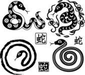 Sada čínského stylu hadů jako symbol roku — Stock vektor