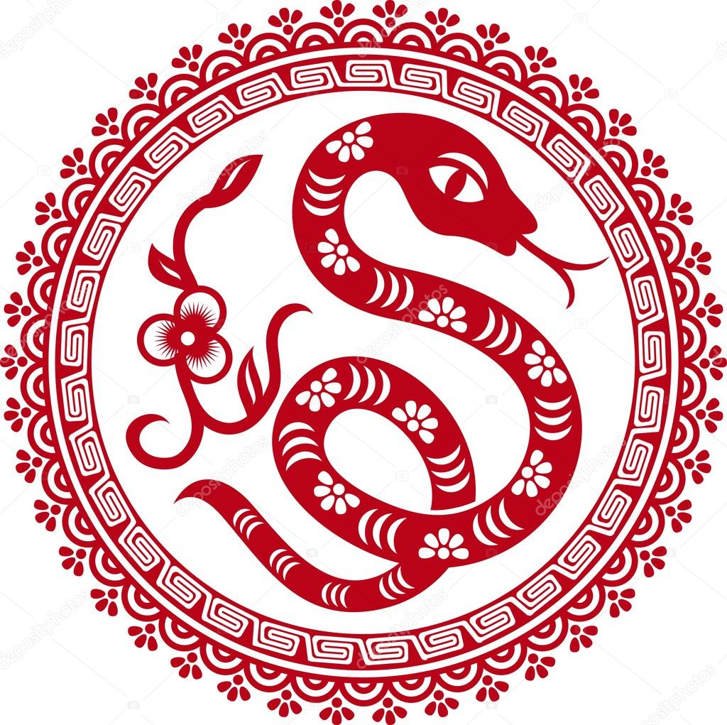 Chinese paper cut snake as symbol of year — Stock Vector ...