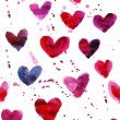 Watercolor seamless hearts pattern — 图库照片