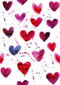 Watercolor seamless hearts pattern — Stock Photo