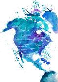 アメリカの水彩画の地図 — ストック写真