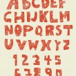 Grungy english alphabet with digits numbers — 图库矢量图片