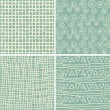 Set of 4 retro seamless patterns in 3 colours — Stock Vector