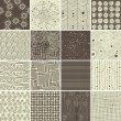 Stock Vector: Set of 16 doodle seamless patterns and textures