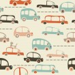 Seamless cartoon map of cars and traffic — Stock Vector