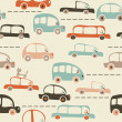 Seamless cartoon map of cars and traffic — Stok Vektör