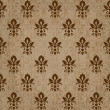 Seamless retro damask vector pattern in brown — Stock Vector
