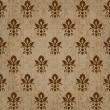Seamless retro damask vector pattern in brown — 图库矢量图片