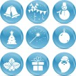 Stock Vector: Chrismas icons on blue balls