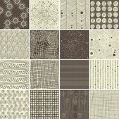 A set of 16 doodle seamless patterns and textures — Stock Vector