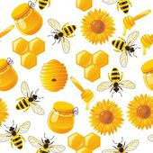 Lively cartoon bees and honey seamless pattern in vector — Stock Vector