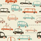 Seamless cartoon map of cars and traffic — Vector de stock
