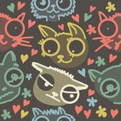 Cute doodle cats seamless pattern — Stock Vector
