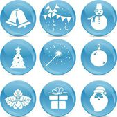 Chrismas icons on blue balls — Stock Vector