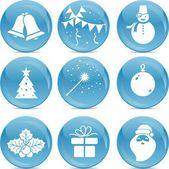 Chrismas icons on blue balls — Stock Vector