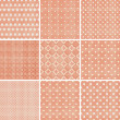 Set of 9 seamless polka dot patterns in pastel girly colors — Image vectorielle