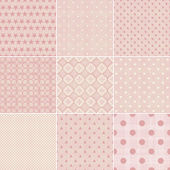 Set of 9 seamless polka dot patterns in pastel girly colors — Stock Vector