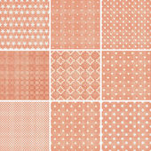 Set of 9 seamless polka dot patterns in pastel girly colors — Stok Vektör