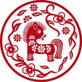 Chinese styled horse as symbol of year of 2014 red isolated on white — Stock Vector