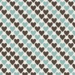 Brown, blue and grey retro seamless hearts pattern in vector — Imagen vectorial
