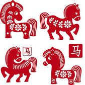 Set of Chinese traditional horses as symbol of year 2014 red isolated on white — Stock Vector
