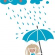 Cartoon girl under the rain — Stock Vector