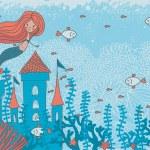 Mermaid and  underwater castle — Stock Vector #39062747