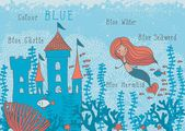Educational cartoon illustration of a mermaid in corals with fish and an underwater castle with blue words — Stok Vektör