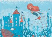 Cartoon doodle illustration of a mermaid in corals with fish and an underwater castle — Stok Vektör