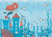 Cartoon doodle illustration of a mermaid in corals with fish and an underwater castle with space for your text — Stok Vektör
