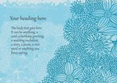 Beautiful doodle floral card with cute blue flowers and space for your text — Stok Vektör