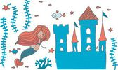 Cartoon doodle illustration of a mermaid in corals with fish and an underwater castle isolated on white — Stok Vektör